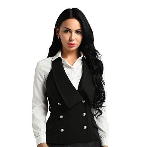 Tiaobug Damen Anzug Weste Elegant Zweireiher Ärmellose Top Neckholder Vest Gilet Business Casual V-Ausschnitt Blazer Schwarz XL(Taille 89cm)