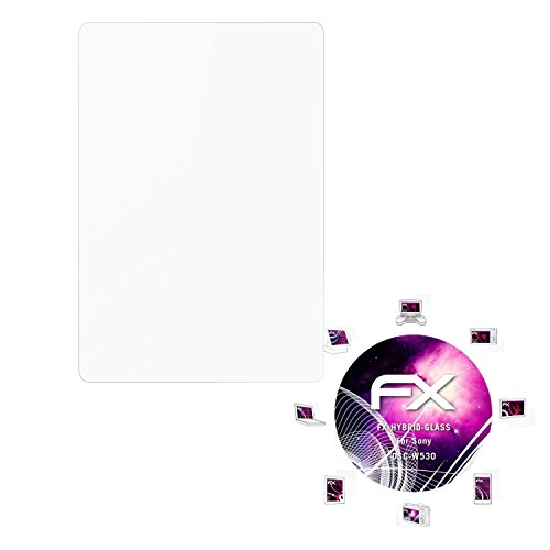 atFoliX Glasfolie kompatibel mit Sony DSC-W530 Panzerfolie, 9H Hybrid-Glass FX Schutzpanzer Folie