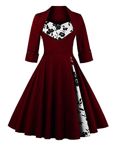 Femme Rétro Robe De Soirée/Bal/Cocktail Courte Vintage Année 40/50 Avec Des Manches 1/2 Avec Nœud De Papillon En Coton Vin Rouge Rose