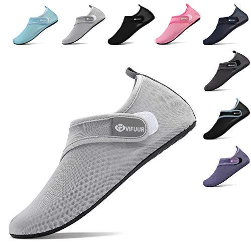VIFUUR Damen Herren Wassersport Schuhe Einstellbare Mesh Aqua Barefoot Yoga für Outdoor Beach Surfen Grau EU38/39