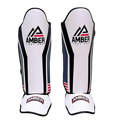 Amber Fight Gear Gladiator Muay Thai Shin-n-Step For Muay Thai Kickboxing Protective Training Sparring Shin Guards Pair (M) -