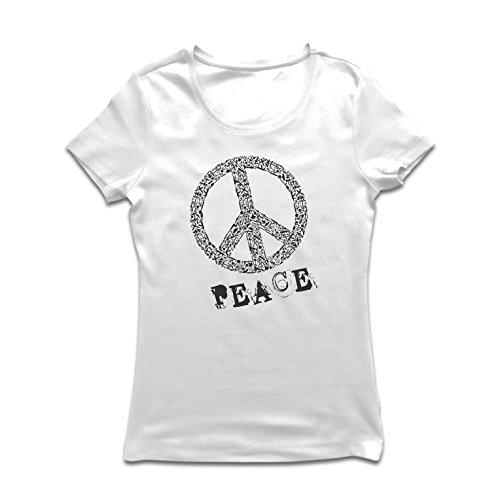 (Frauen T-Shirt FRIEDENSsymbol - 1960er Jahre 1970er Jahre Hippie Hippie, Street-Kleidung, Friedenszeichen, Sommer Festival Hipster Swag (Small Weiß Mehrfarben))