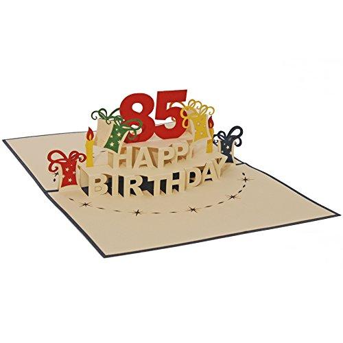 Favour Pop Up Glückwunschkarte zum runden 85. Geburtstag. Eine originelle 3D-Grusskarte, ein von Hand gearbeitetes filigranes Kunstwerk, das sich beim Öffnen des gestalteten blauen Umschlags entfaltet. TA85B