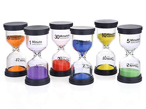 PremiPro Sanduhren Set – 6 Stück Eieruhren für Küche und Schule – 1 Min, 3 Min, 5 Min, 10 Min, 15 Min, 30 Min   Eiersanduhren - Perfekt für Kinder Zum Lernen und Verstehen der Zeit