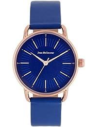 Reloj hombre JEAN Bellecour y pulsera de cuarzo reloj azul 38 mm Blue Piel jb1071