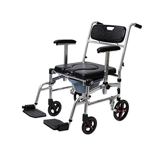 XWCPDM Klappbarer Duschstuhl Aus Aluminium Rollstuhl Seniorentoilette Mobiler Toilettenhocker Gehhilfe - Design, Essecke