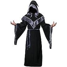 Disfraz de Mago Monje Capa con Capucha Negra de Mágico Sacerdote Traje de Bruja Hechiceros de Nofonda Ropa Medieval de Adultos Hombre para Fiesta de Halloween Carnaval (M)