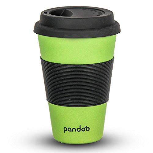 pandoo Bambus Coffee-to-Go-Becher | Kaffee-Becher, Trink-Becher, Bamboo-Cup | ökologisch abbaubar, recyclebar, umweltfreundlich | lebensmittelecht, spülmaschinengeeignet (Grün)