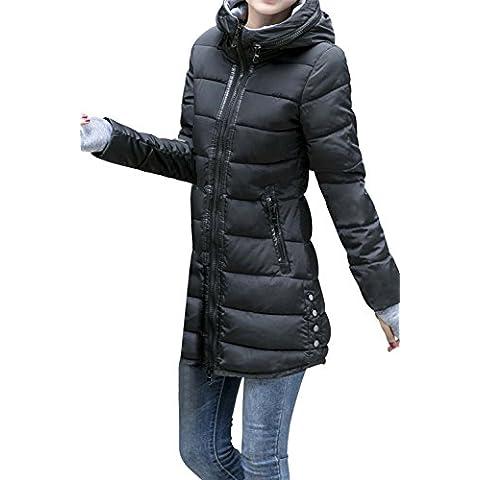 BOMOVO Capa gruesa capucha de manga larga de las mujeres En el abrigo largo