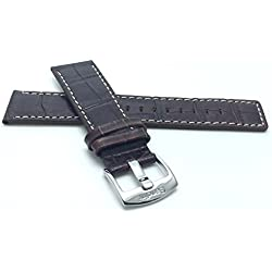28mm, Brown Genuine Leather Watch Band Strap, White Stitching, Also comes in Black and Tan