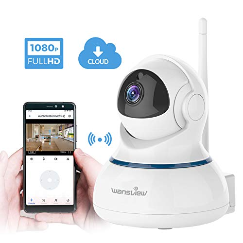wansview IP Camera, 1080P Wireless Home Security Camera With Night Vision,  2-Way Audio and Pan Tilt for Baby, Elder, Pet, Nanny Monitor Q3S White
