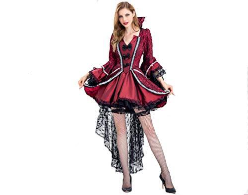 GHDTGS Damen Elegante Steampunk Korsetts Jacquard Bustier Tops Mit High Low Lace Rock Kostüm,L (Eleganter Teufel Kostüm)