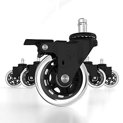 Roulettes de rechange en polyuréthane-Très résistant avec système de frein pour chaise de bureau unique-universel-Rollerblade style-Protège tous les sols (Lot de 5)