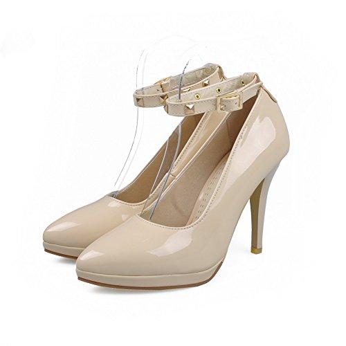 AalarDom Damen Schnalle Stiletto Lackleder Rein Spitz Schließen Zehe Pumps Schuhe Aprikosen Farbe