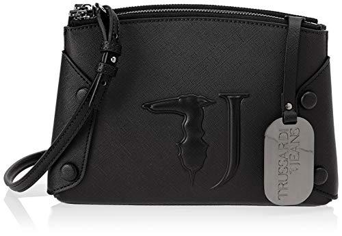Trussardi Jeans Melissa Shoulder Bag Covered Studs, Borsa a Tracolla Donna, Nero (Black On Tone), 23x16x6 cm (W x H x L)