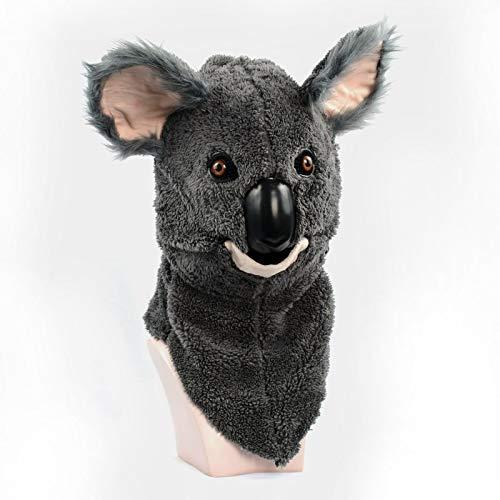 XIANGBAO-Maskenparty Neues Design pelzigen handgefertigten maßgeschneiderte Parade bewegen Mund Maske Koala Simulation Tiermaske (Color : Grey, Size : 25 * 25)