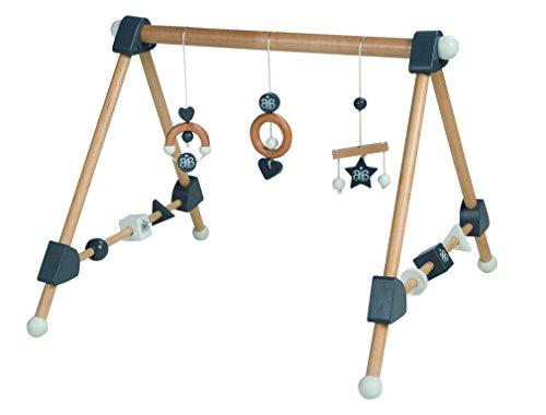 roba Spieltrapez, Aktivcenter mit höhenverstellbaren Spiel-und Greiftrainer, und Babyspielzeug aus Holz, mehrfarbig, H x B x T: 48 x 61 x 59 cm (Baby Gym)