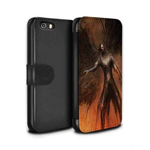 Offiziell Chris Cold PU-Leder Hülle/Case/Tasche/Cover für Apple iPhone SE / Hörner Muster / Dunkle Kunst Dämon Kollektion Schwarzen Flügeln