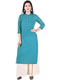 AQUILA Pink Solid Cotton Round Neck Kurti With Black Solid Rayon Palazzo.