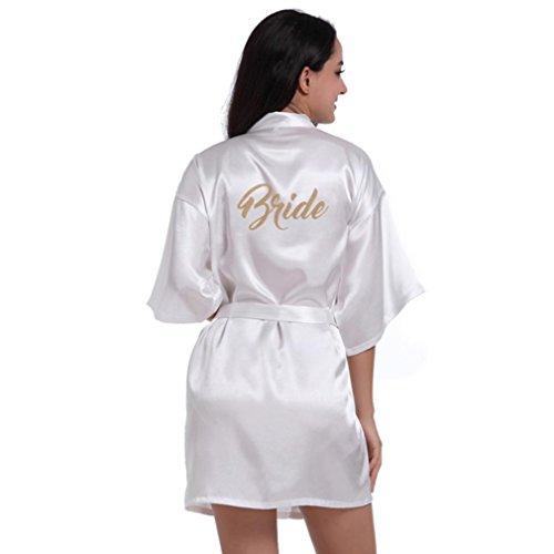 Bata para mujer,VENMO Mangas medias de la mujer de manga corta kimono corto traje de seda Ropa de dormir para la boda novia fiesta (blanco, S)