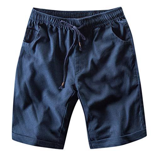 GreatestPAK Herren Kurze Hosen Slim Fit Freizeit Taschen Gerade Hosen Baumwolle Leinen Shorts Overalls,Marine,EU:M(Tag:XL) Camo Bib Overall