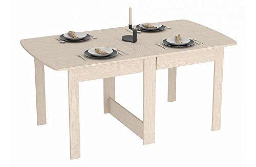 Rodnik Klappbarer Tisch - Klapptisch Eiche Weiß - Holz Hell - Raumwunder - Küchentisch - Doppelklappentisch - Esstisch - Funktionstisch - Bürotisch - Tisch klappbar - - Kompakter Esstisch