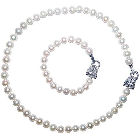 Genuine Nearround 9 mm, colore: argento, motivo: testa di leopardo Jewelry-Set collana e braccialetto - Genuine Diamante Bridal Set