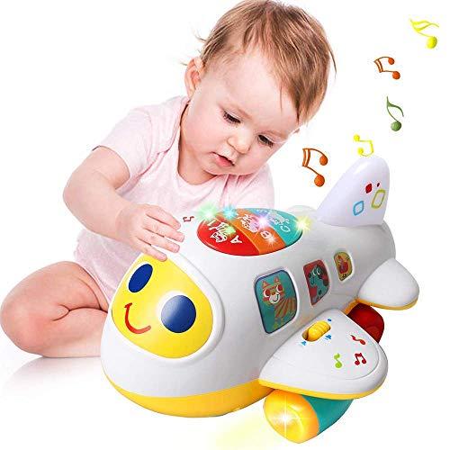 Mingzheng Flugzeug Spielzeug ab 1 Jahren Jungen und Mädchen Kinder Lernspielzeug mit Licht und Musik Pädagogisches Spielzeug für Kleinkinder als Geschenk