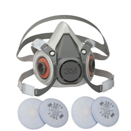 3 m 6100 Petite Demi masque respiratoire réutilisable avec sangles réglables, avec 2 paires de 3 m 2071 filtres - Taille petite 6100/07024 par 3 m