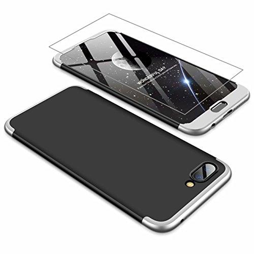 AILZH Huawei Honor 10 Hülle 360 Grad Schutzhülle PC Hartschale Anti-Schock HandyHülle Anti-Kratz Stoßfänger 360°Cover Case Matte Schutzkasten+Gehärteter Glasfilm(Silber schwarz)