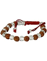 DollsofIndia Rudraksha With Acrylic Beads Bracelet - Around The Wrist - 9 Inches (OI80) - Brown