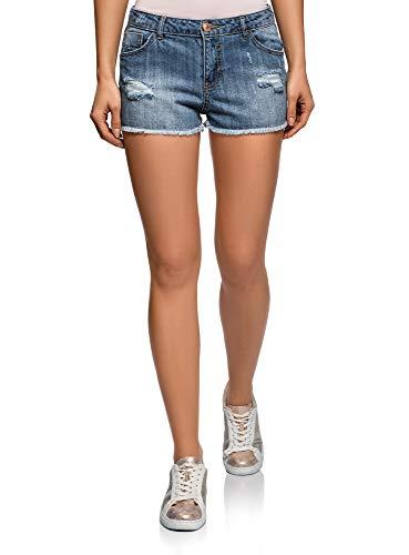 oodji Ultra Mujer Pantalones Cortos Vaqueros con Rasgaduras, Azul, ES 42 / L