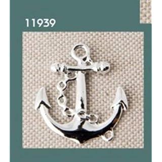STOCK 12 PEZZI Tema marino Ancora in metallo ciondolo decorazione applicazione BOMBONIERA