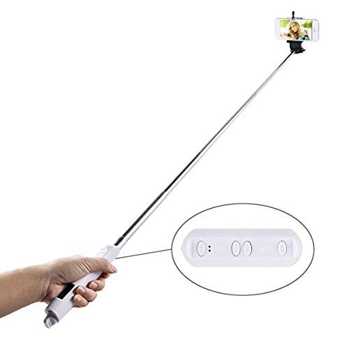 GoldQ allungabile portatile Bluetooth ripresa con lo scatto Selfie Stick monopiede Con Zoom per iPhone 5 / 5s / 6/6 Plus Samsung Note 3/4 S5 / 4/3 HTC Telefono Bianco