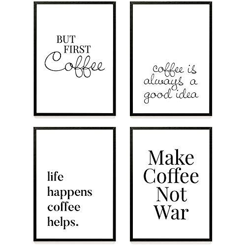 Heimlich ® Premium Poster Set   Stilvolles Set mit passenden Bilder in Schwarz-Weiß   4 Stück in DIN A4 (21x30cm)   Ohne Bilderrahmen » Kaffee «