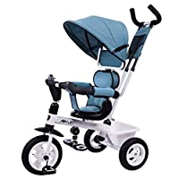shuhong Baby Carriage 3 Wheel Bike Kids Tricycle, With Removable Push Handle Bar,Non-inflatable Rubber Wheel,Seat Rotated 360°,1-6 Years Old