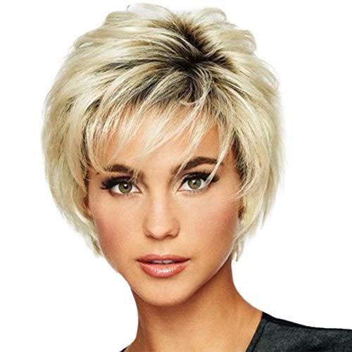 Parrucca alla moda, sintetica, corta, dritta, da donna, capelli naturali, con fiocco femminile