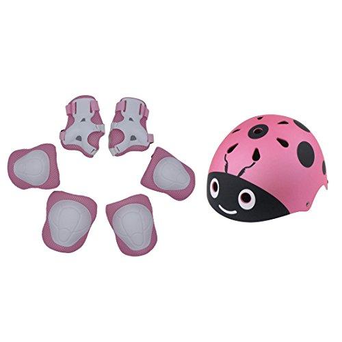 Foxom 7 Pezzi Set di casco, ginocchiere, gomitiere e guanti in gel per bambini, per scooter, Skateboard, BMX e bicicletta, Ideale per 3-12 anni bambini, Rosa