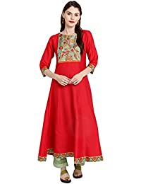 [Sponsored]Janasya Women's Red Poly Silk Anarkali Digital Print Kurta
