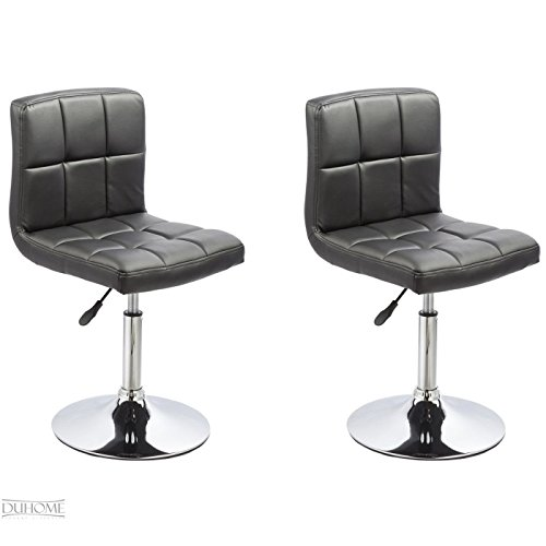 2er Set Esszimmerstuhl SCHWARZ aus Kunstleder Küchenstuhl mit Lehne höhenverstellbar drehbar Stuhl Duhome 0631 - Kunststoff-stuhl Moderner