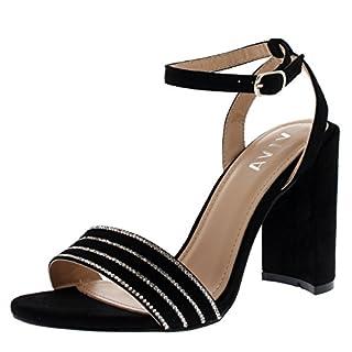 Viva Womens High Heel Ankle Strap Diamante Detailed Suede Sandal Wedding Party Shoes - Black KL0302Q 6UK/39