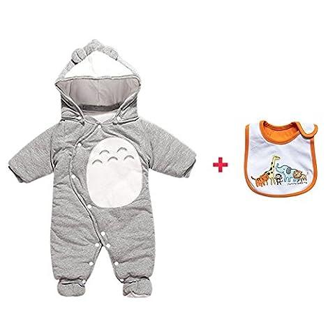 CORLISS Baby Strampler mit Baby Bib für Jungen Mädchen (8-12 Monate(Baby-Höhe:28.5-31.5 Zoll), #A-GY)