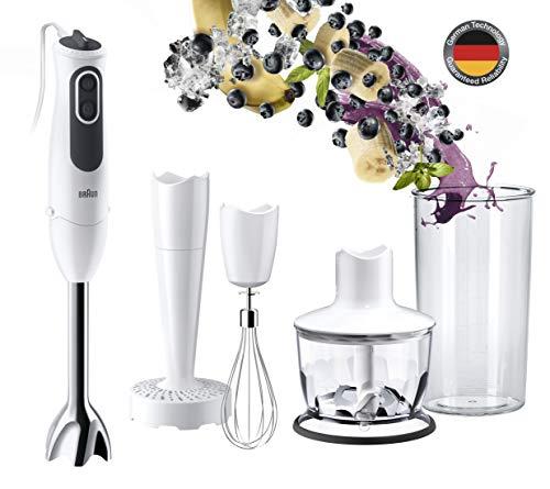 Braun Minipimer 3v MQ3137WH Sauce - Batidora de mano eléctrica, anti-salpicaduras, powerbell plus, paquete de accesorios premium, 750 w, de plástico, 11 velocidades, blanco