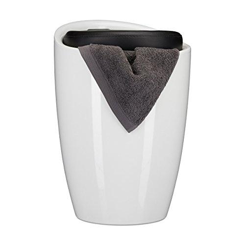 Relaxdays Badhocker zweifarbig, rund, Kunststoff, abnehmbares Sitzkissen, 28 l Stauraum, Wäschekorb, Tragegriff, schwarz