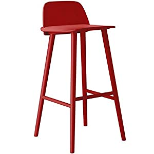 Muuto Nerd Bar Stool - High - Seat height: 75 cm, Red