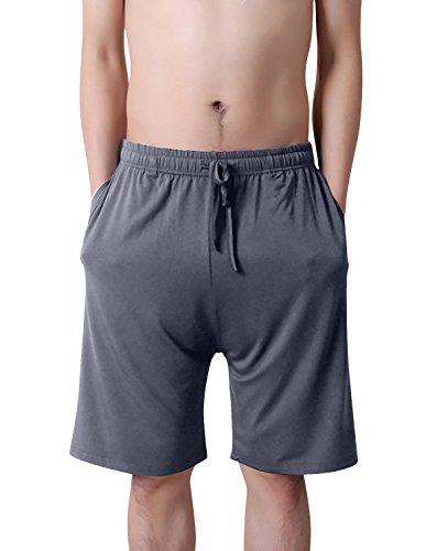 Dolamen Herren Schlafanzughose Hose Shorts kurz, Modal Baumwolle unterwäsche boxershorts Nachtwäsche Trunk Pyjamahose verstellbarem Elastik-Bund Taschen Schlafen Freizeit (X-Large, Tiefgrau)