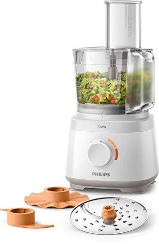 Philips Cucina HR7310/00 Robot da Cucina Multifunzione con Oltre 16 Funzioni, Disco 2-in-1 in Acciaio Inox, 700 W, 2.1 Litri, Bianco