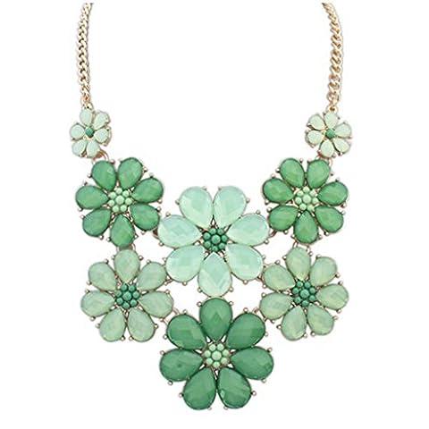 LUFA Mode Alliage coloré chaîne Perles fleurs en cristal Collier ras du cou pour les femmes vert&45*9cm