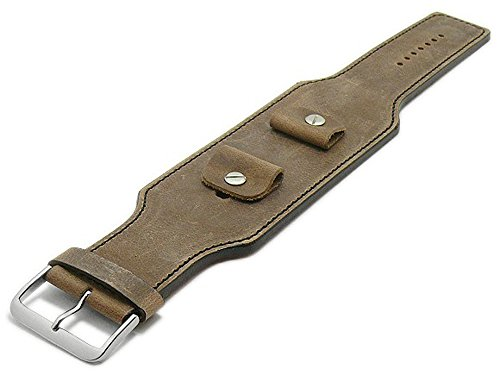 Meyhofer Uhrband Luederitz 20-22-24mm beige Leder Antik-Look Schwarze Naht...