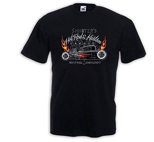 Hot Rod T-Shirt Shifters Vintage Zündkerze Rockabilly V8 Rat Rod Schwarz